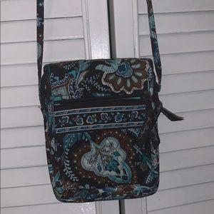 Vera Bradley blue and brown crossbody purse